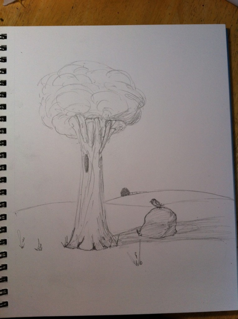 Sketch:  Tree and Boulder